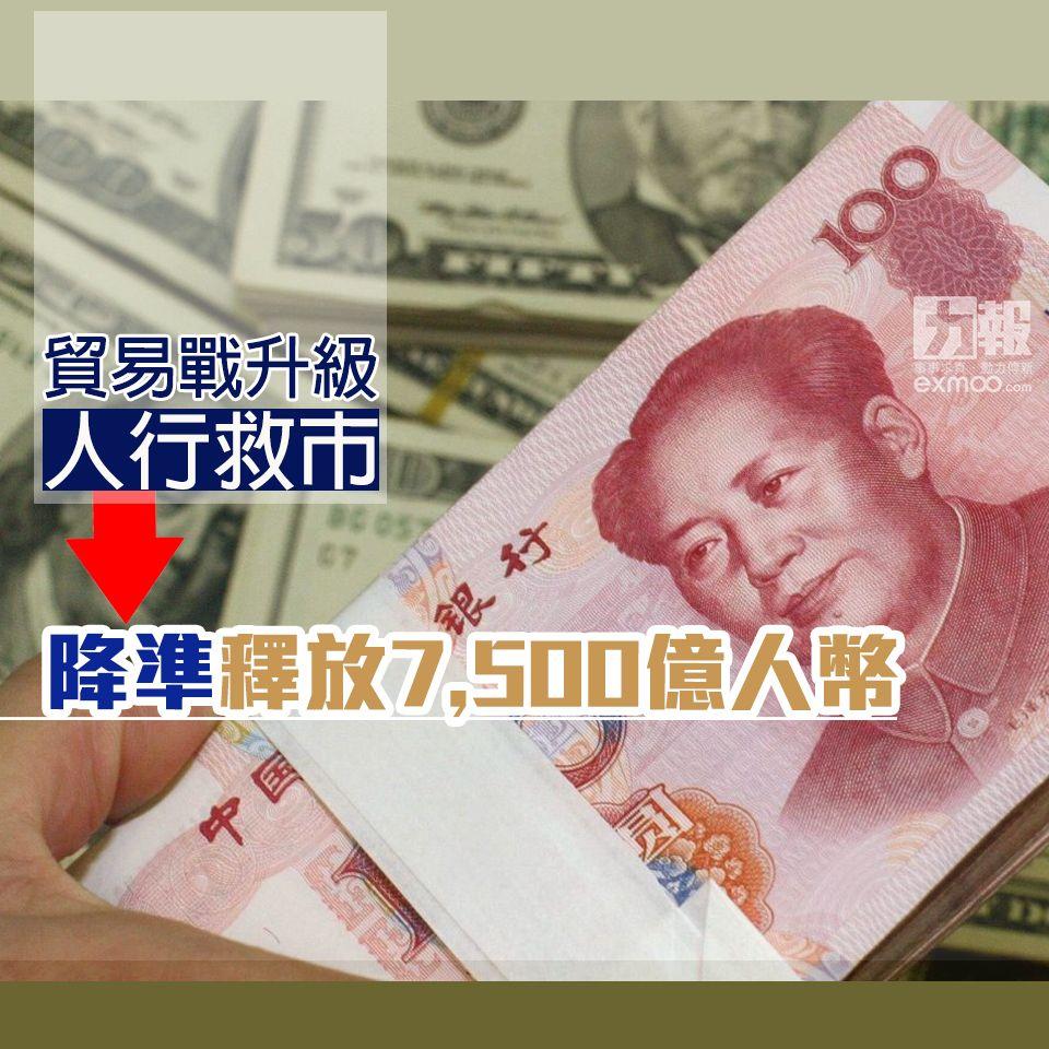 降準釋放7,500億人幣