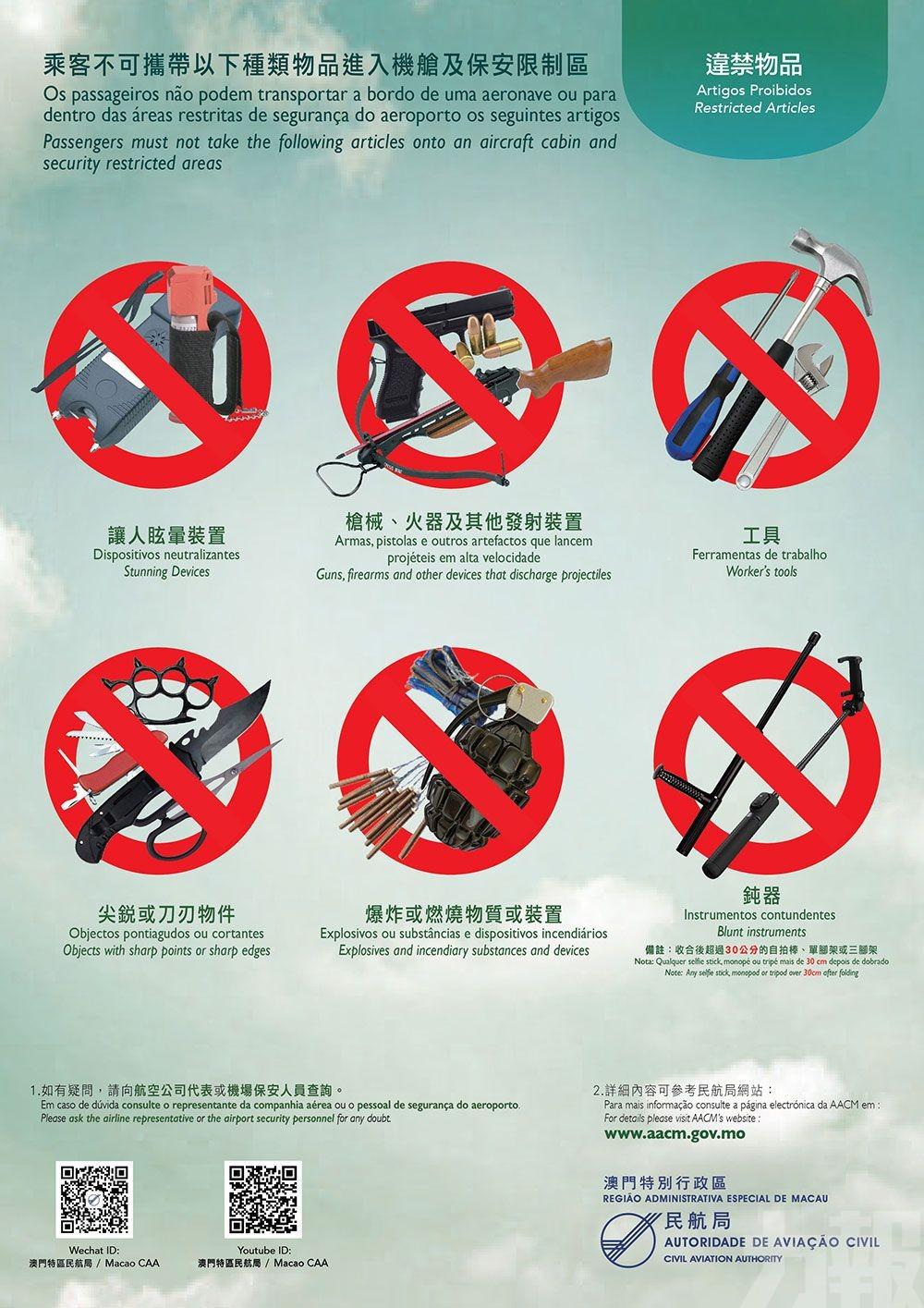 下月起澳門機場禁攜逾30公分自拍棍