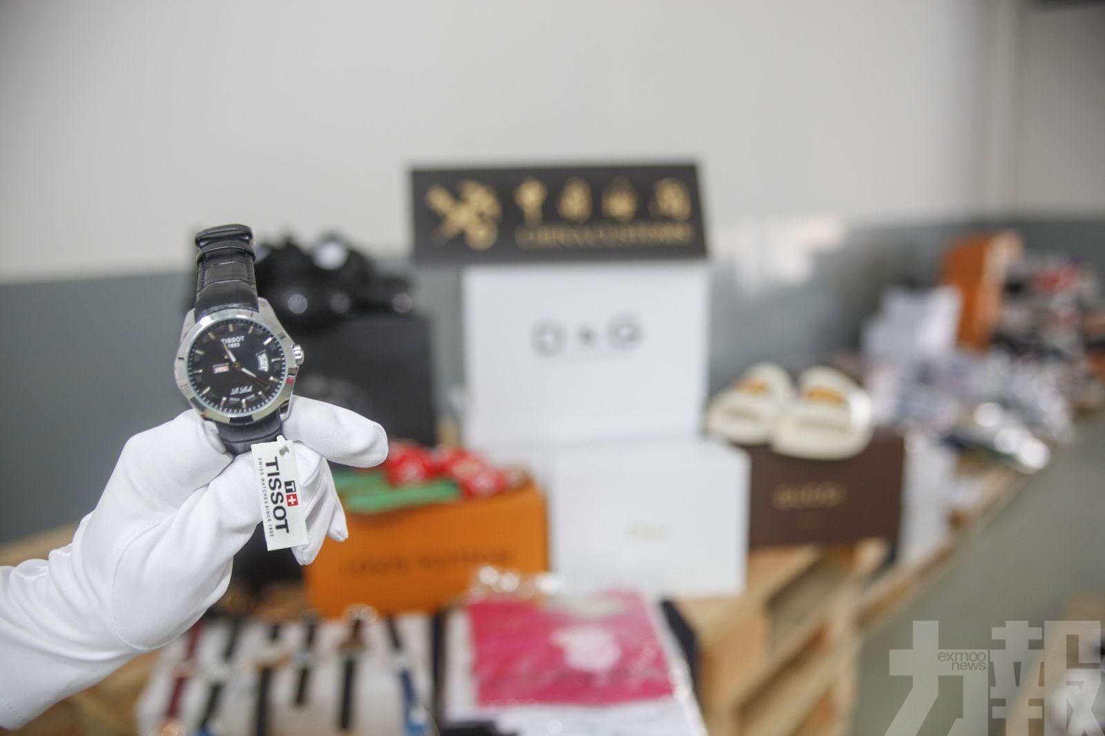大橋海關查獲逾2,000件冒牌衫褲手表
