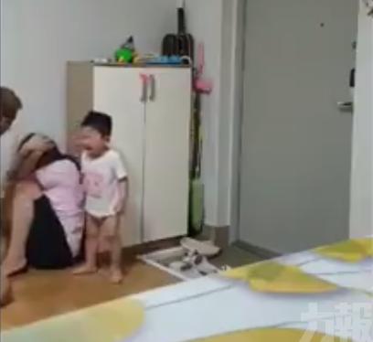 韓躁男當幼子面前掌摑重毆