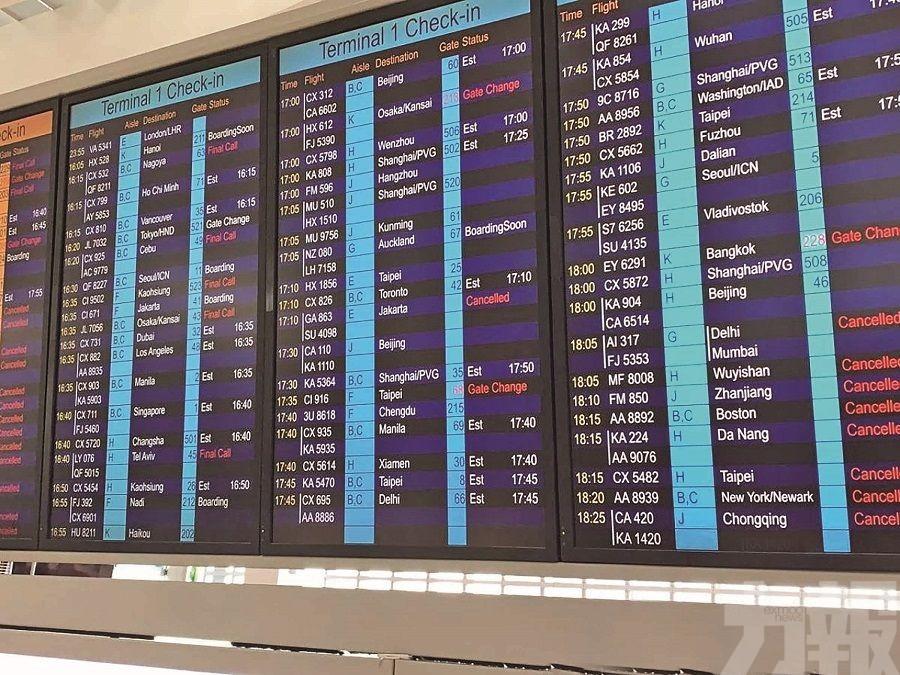 香港機場昨午取消所有航班
