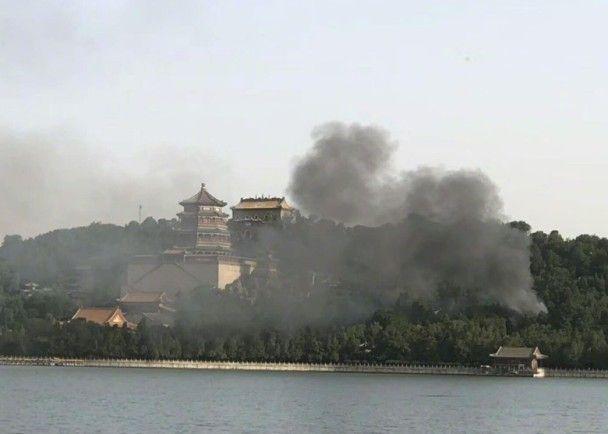 北京頤和園文物附屬建築起火
