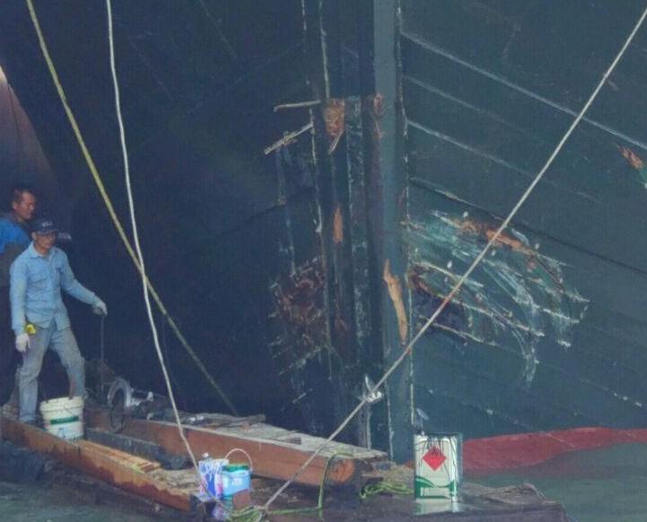 漁船貨船友誼橋海面相撞