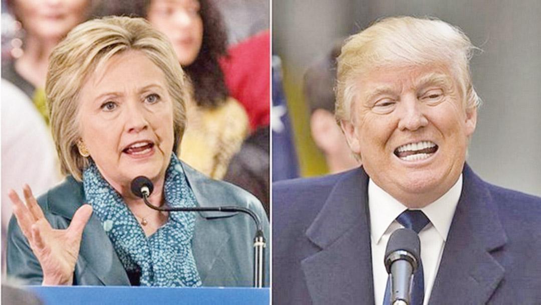希拉莉(左)批评特朗普(右)言论极度危险,称美国需要穆斯林盟友的信任