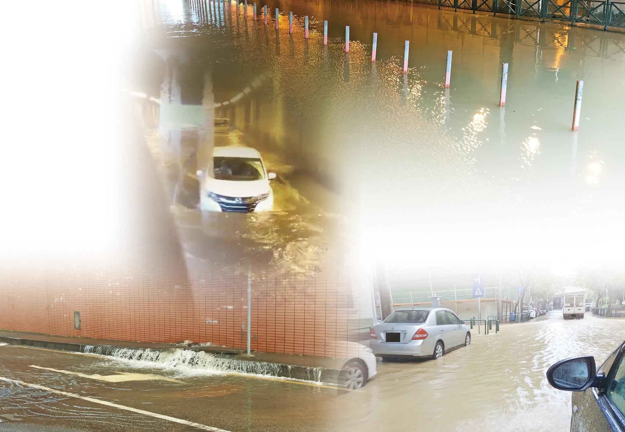 關閘隧道水浸成河車輛「死火」被困