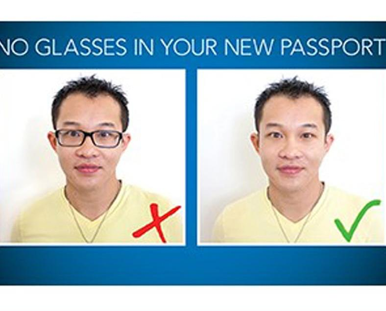 護照及簽証照片禁戴眼鏡