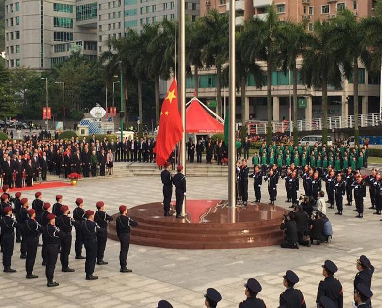 金蓮花廣場今早舉行升旗儀式