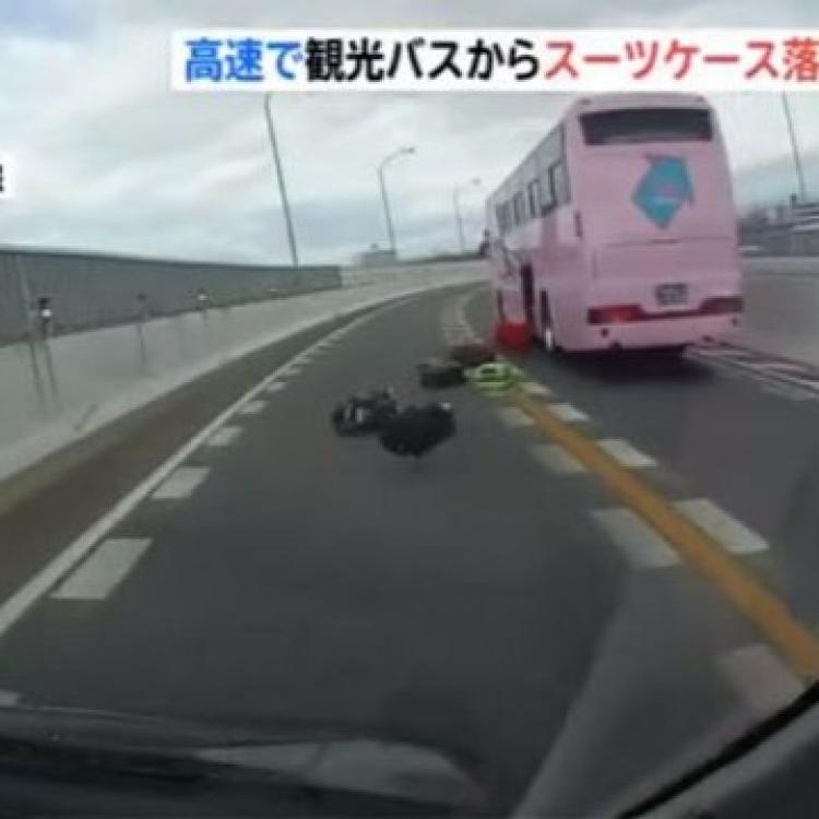 日旅遊巴公路狂跌行李