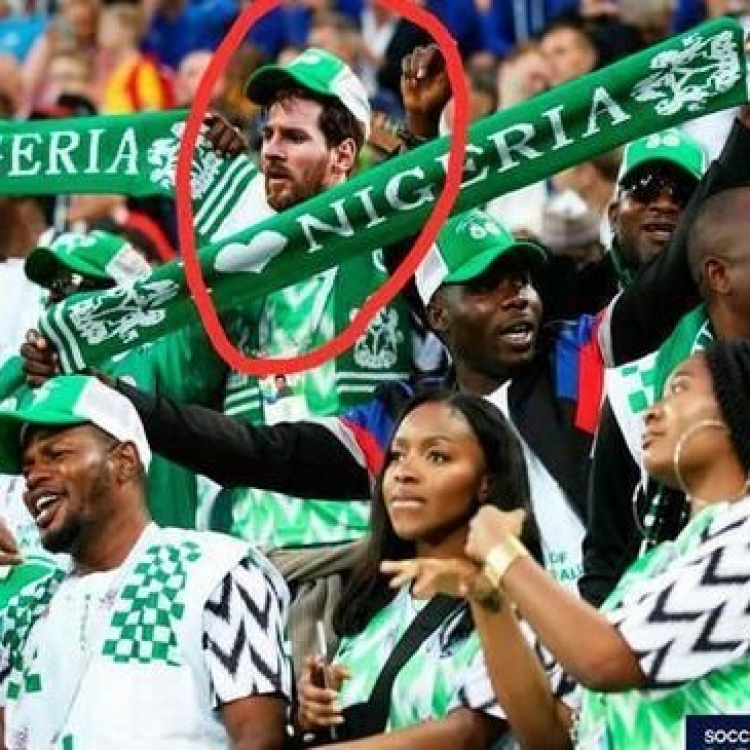 美斯被惡搞變尼日利亞球迷